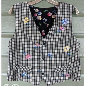 Vintage 90s floral REVERSIBLE vest rayon friends M